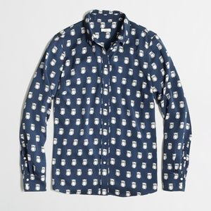 J. Crew | Owl Printed Button Down Collared Shirt